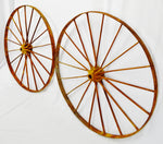 "Antique Large 42"" Metal Wagon Wheels - A Pair"