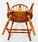 Antique Maple Windsor Style Bowback Armchair with Rush Seat