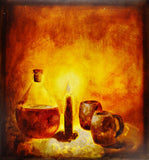 Vintage 1993 Artist Signed Serxho Petrela Still Life Oil on Canvas Painting