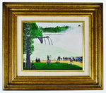 Vintage Framed Victorian Style Waterfall Landscape Painting on Board