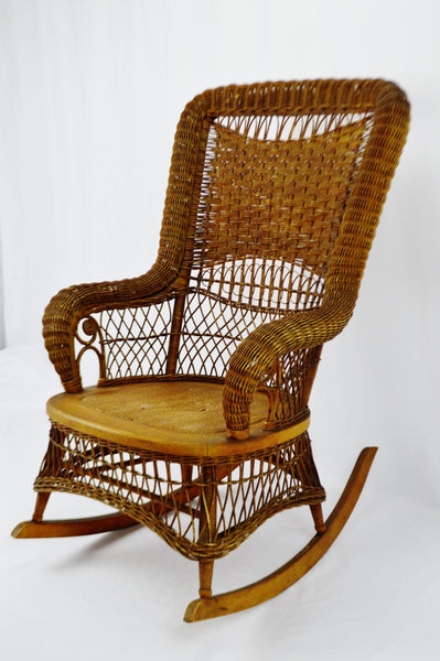 wicker rocking chair. Victorian Larkin Company Wicker Rocking Chair
