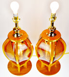 Mid Century Modern Etched Amber Glass Table Lamps - A Pair