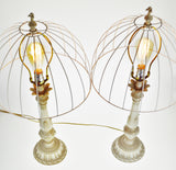 Vintage Metal Candlestick Table Lamps with Metal Cage Lamp Shades - A Pair
