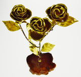 Vintage Hand Made Brass Rose Bud Branch Sculpture by Devall - Artist Signed