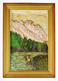 Vintage Folk Art Bas Relief Wood Carving of Man Fishing by C.J. Le Poidevin