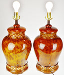 Vintage Pottery Drip Glaze Table Lamps w/ Night Light - A Pair