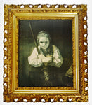 Antique Gilt Framed Rembrandt Girl With A Broom Textured Print on Panel