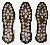 Antique Carved Wood Moroccan Mother of Pearl Inlaid Shoes - Group of 3