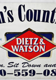 Vintage Dietz & Watson Double Sided Metal Country Cafe Sign