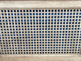 Antique Custom-Made Wood Square Lattice Detail 4-Post King Headboard & Footboard