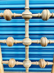 Antique 11' Tall Custom-Made Wood 4-Post Asian Influence King Headboard & Footboard