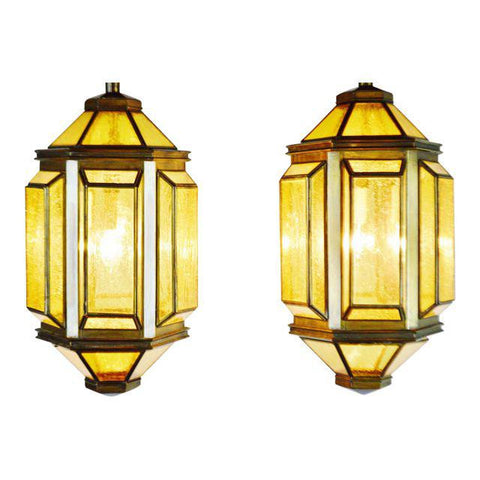 Pair of Mid Century Modern Ceiling Light Fixtures Chandelier Pendant Lamps