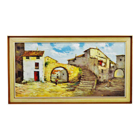 Large European Village Scene Framed Oil Painting on Canvas Signed Mayor