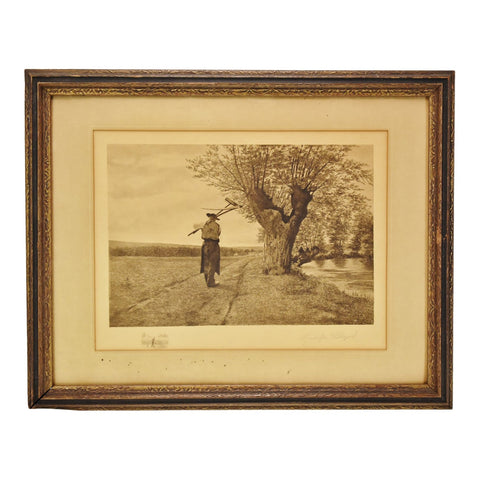 Vintage Framed Remarque Landscape Engraving by Rudolph Bleyer - Signed