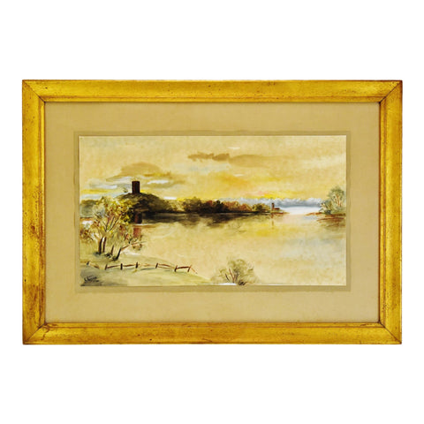 Vintage Framed Watercolor & Mixed Media Landscape Painting - Artist Signed