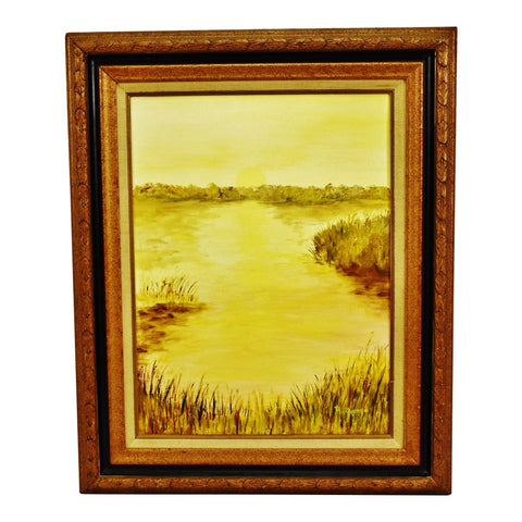 Vintage Framed Oil on Canvas Board Landscape Painting - Artist Signed