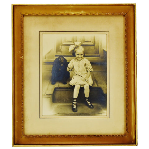 Antique Framed Photograph of Child with Dog