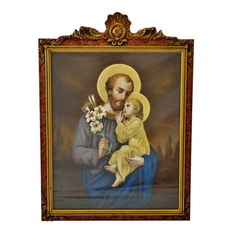 Antique Original Pastel St. Joseph and Baby Jesus in Carved Wood Frame