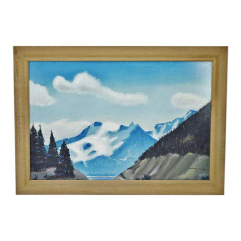 Vintage Rustic Framed Mountain Landscape Pastel Drawing - Artist Signed