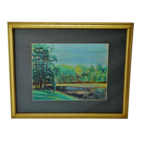 Vintage Framed Lake Scene Landscape Pastel Drawing - Artist Signed