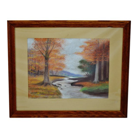Vintage Framed Wooded Stream Landscape Pastel Drawing - Artist Signed