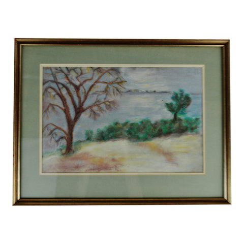 Vintage Framed Pastel Landscape Drawing