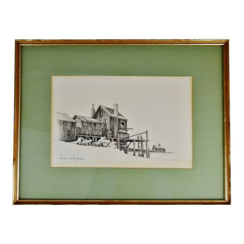 Vintage Framed Fishing Wharf Pencil Drawing - Artist Signed