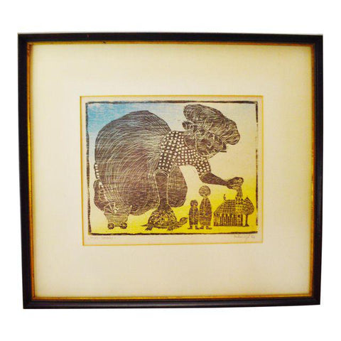 Vintage 1966 Hand Colored Artist Signed Woodblock Engraving Titled Play Things