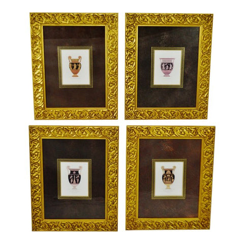 Vintage Gilt Framed Antique Vases Copper Plate Engravings - Set of 4
