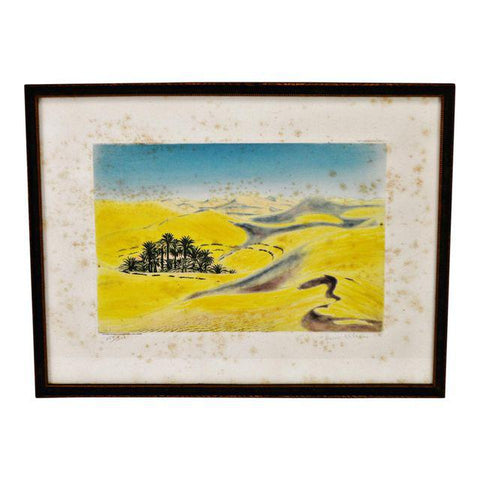 Antique Grande Dunes of the Sahara Hand Colored Engraving - Pencil Signed