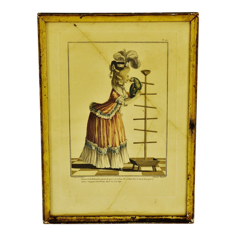 Antique Framed French Fashion Plate Engraving