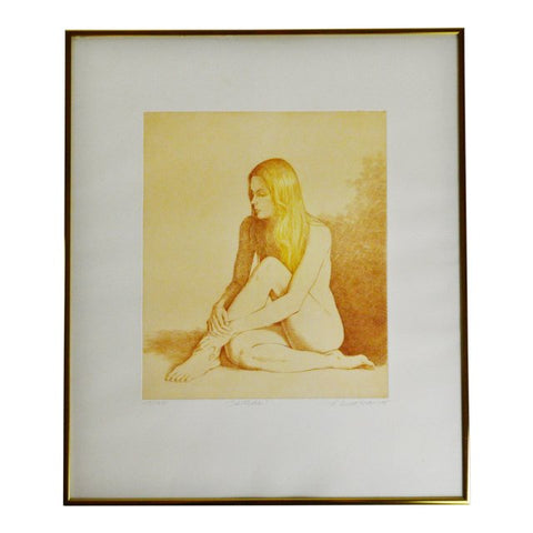 "Vintage L. Russomanno Pencil Signed & Numbered Nude Woman Etching ""Solitude"""