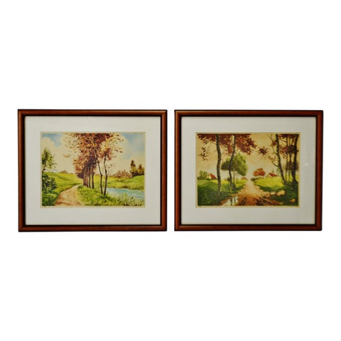 Vintage Framed Paris Etching Society Signed Landscape Prints - A Pair
