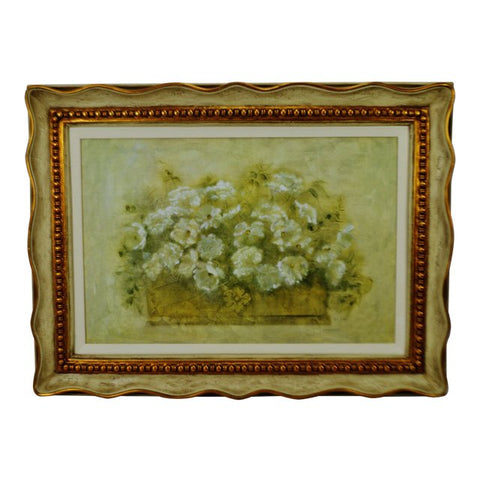 Vintage Framed Giclee on Textured Board White Floral Bouquet by Blum