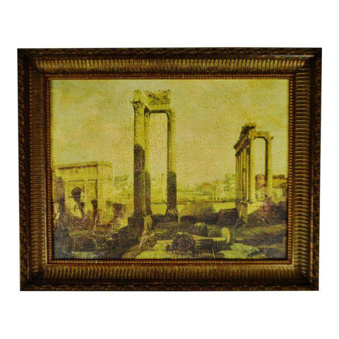 Vintage Framed Gilt Embellished Giclee on Canvas of Ancient Ruins