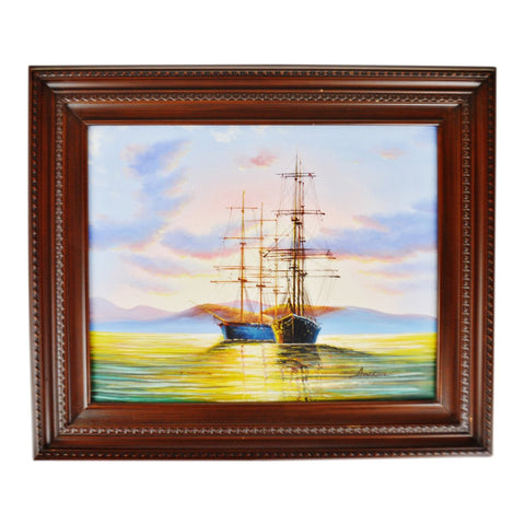 Vintage Framed Nautical Seascape Clipper Ship Giclee on Canvas by Ambrose