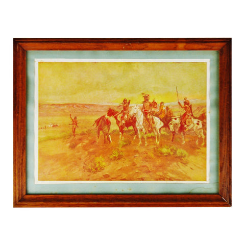 Antique 1902 Framed C. M. Russell Finding The Trail Native American Print