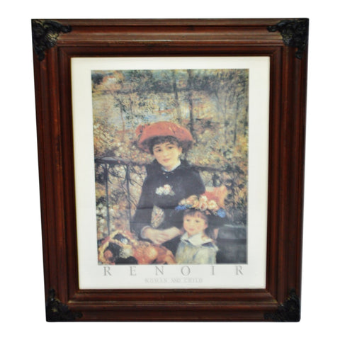 Vintage Framed Renoir Woman And Child Print