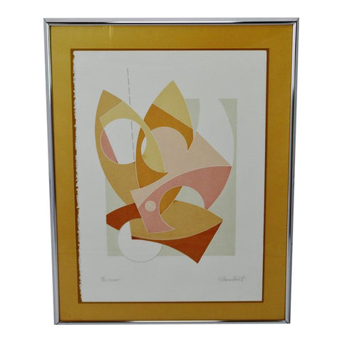 "Mid Century Framed Thomas Barrett Abstract Serigraph Titled ""Cutout"" - Signed"