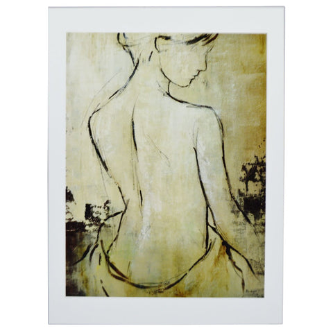 Vintage Female Nude Print on Board by Bridges