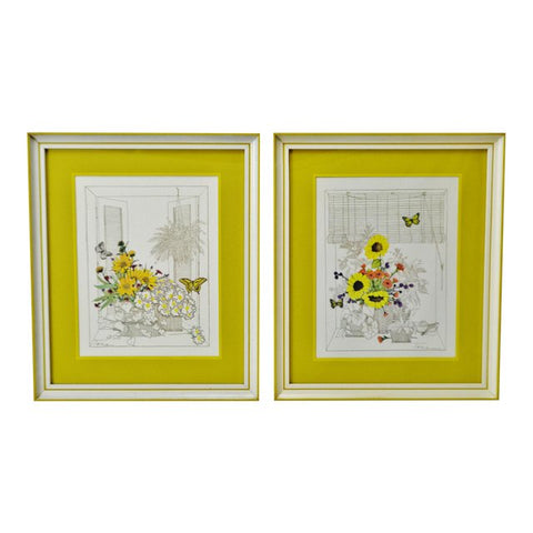 Mid Century Turner Wall Art Mixed Media Floral Prints - A Pair