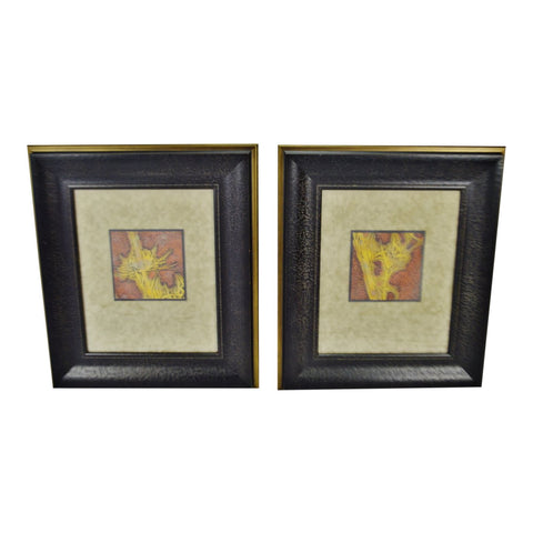 Vintage Framed Queen Anne's Lace Decorative Arts Inc. Wall Art - A Pair