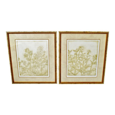 Vintage Framed Limited Edition Signed Floral Lithographs - A Pair
