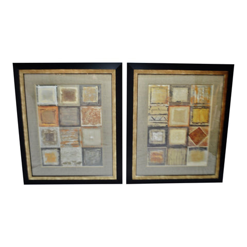 Vintage Large Scale Framed Geometric Design Wall Art - A Pair