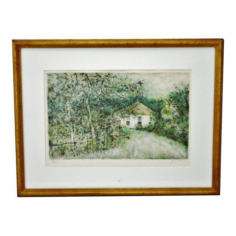 Vintage Framed Artist Signed & Numbered Lithograph of Country Landscape