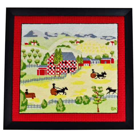 Vintage Framed Amish Landscape Needlepoint Art