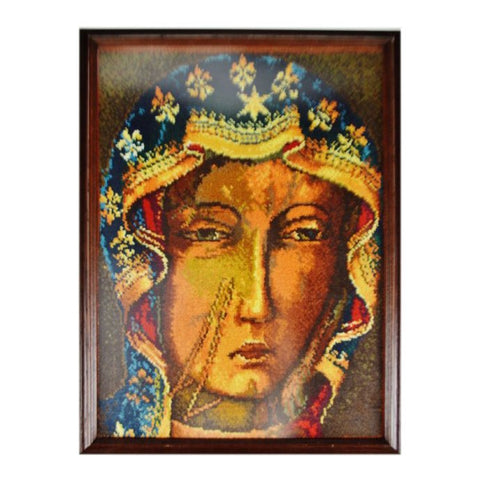 Vintage Framed Portrait of Woman Latch Hook Needlework Art