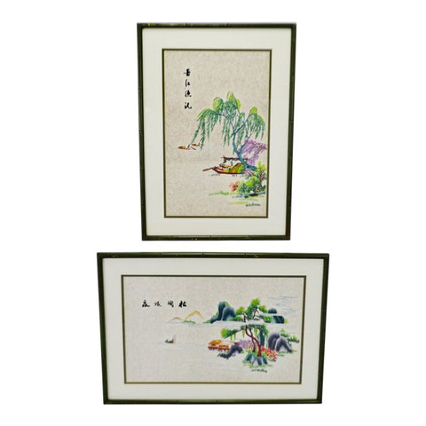 Vintage Framed Asian Embroidery on Silk - A Pair