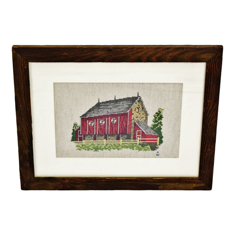 Vintage Rustic Wood Framed Country Barn Landscape Needlepoint Art - Artist Signed