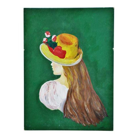 Vintage 1970 Acrylic on Board Portrait of Woman Wearing Bonnet - Artist Signed